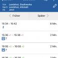Screenshot Fahrplanauskunft mit Echtzeitdaten
