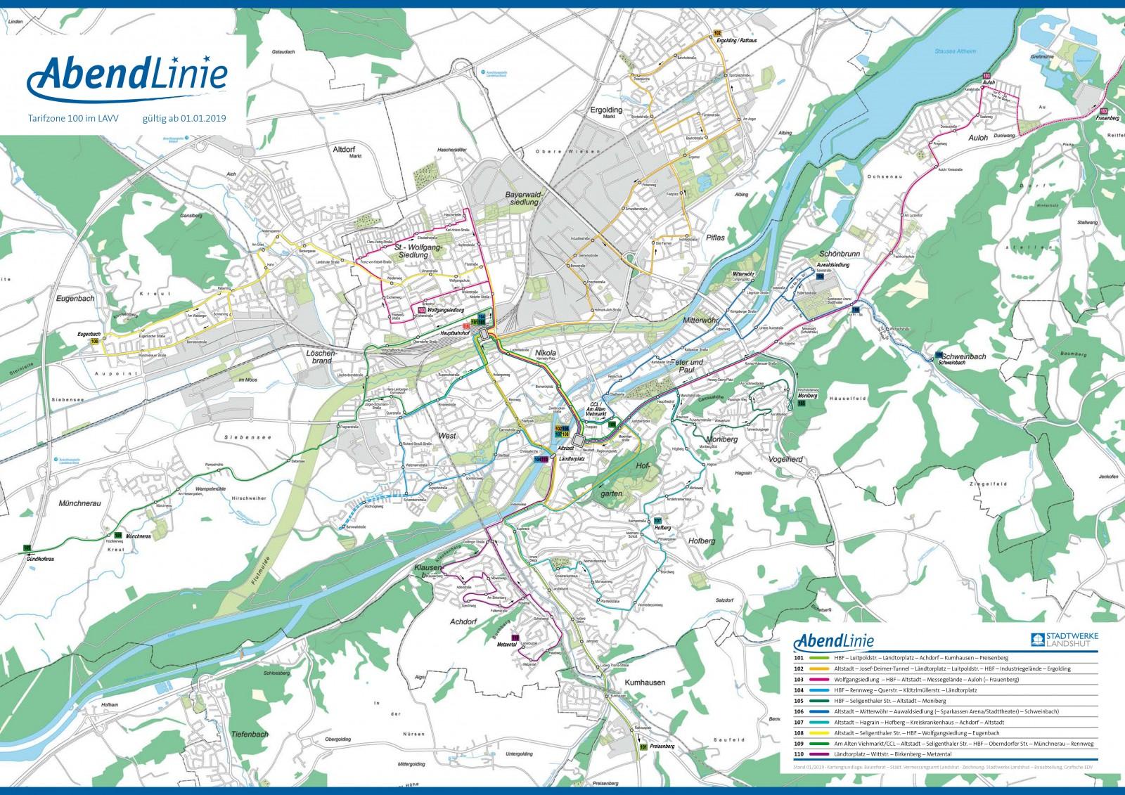 Liniennetzplan Abendlinie geo