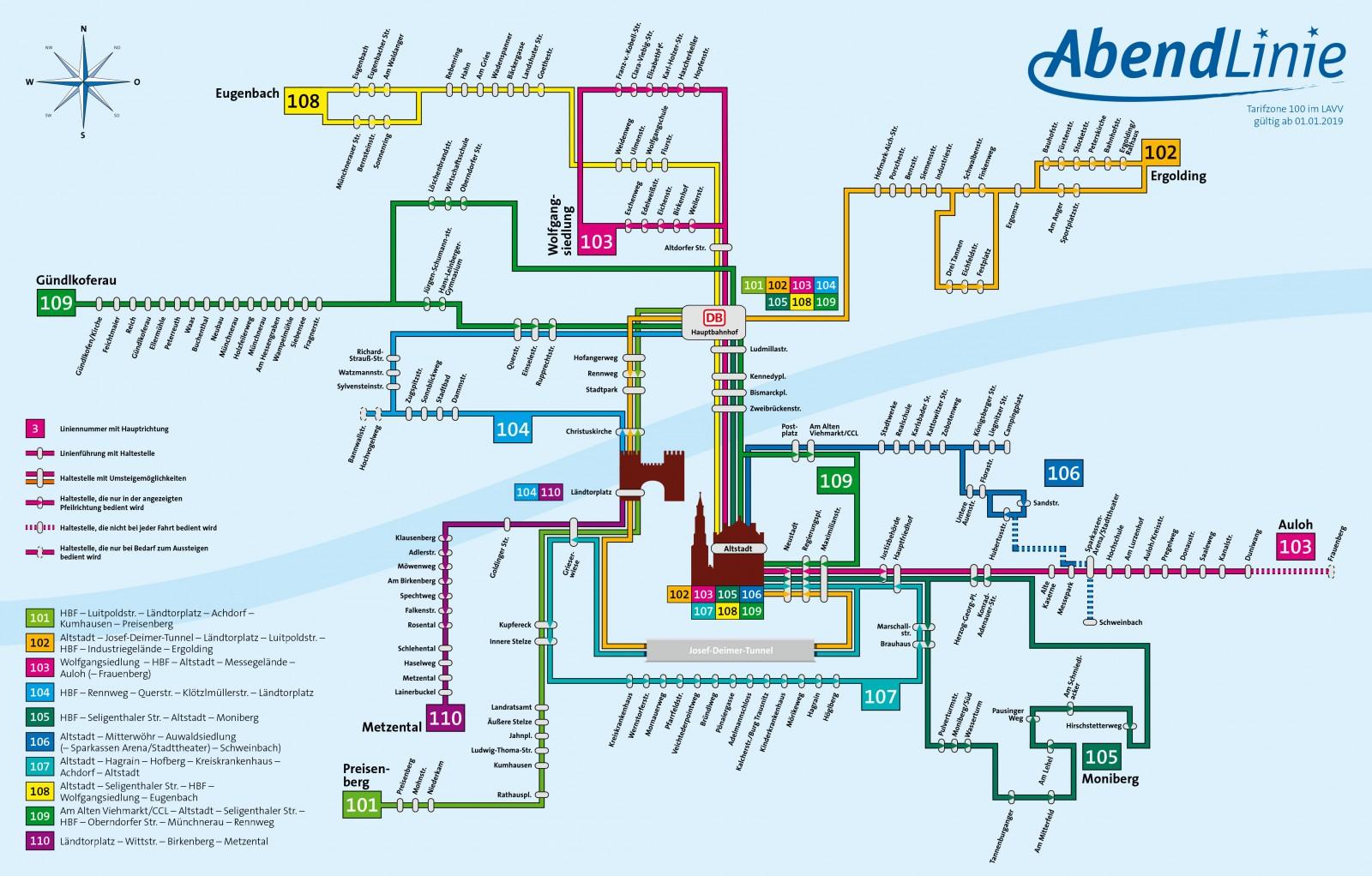 Liniennetzplan Abendlinie