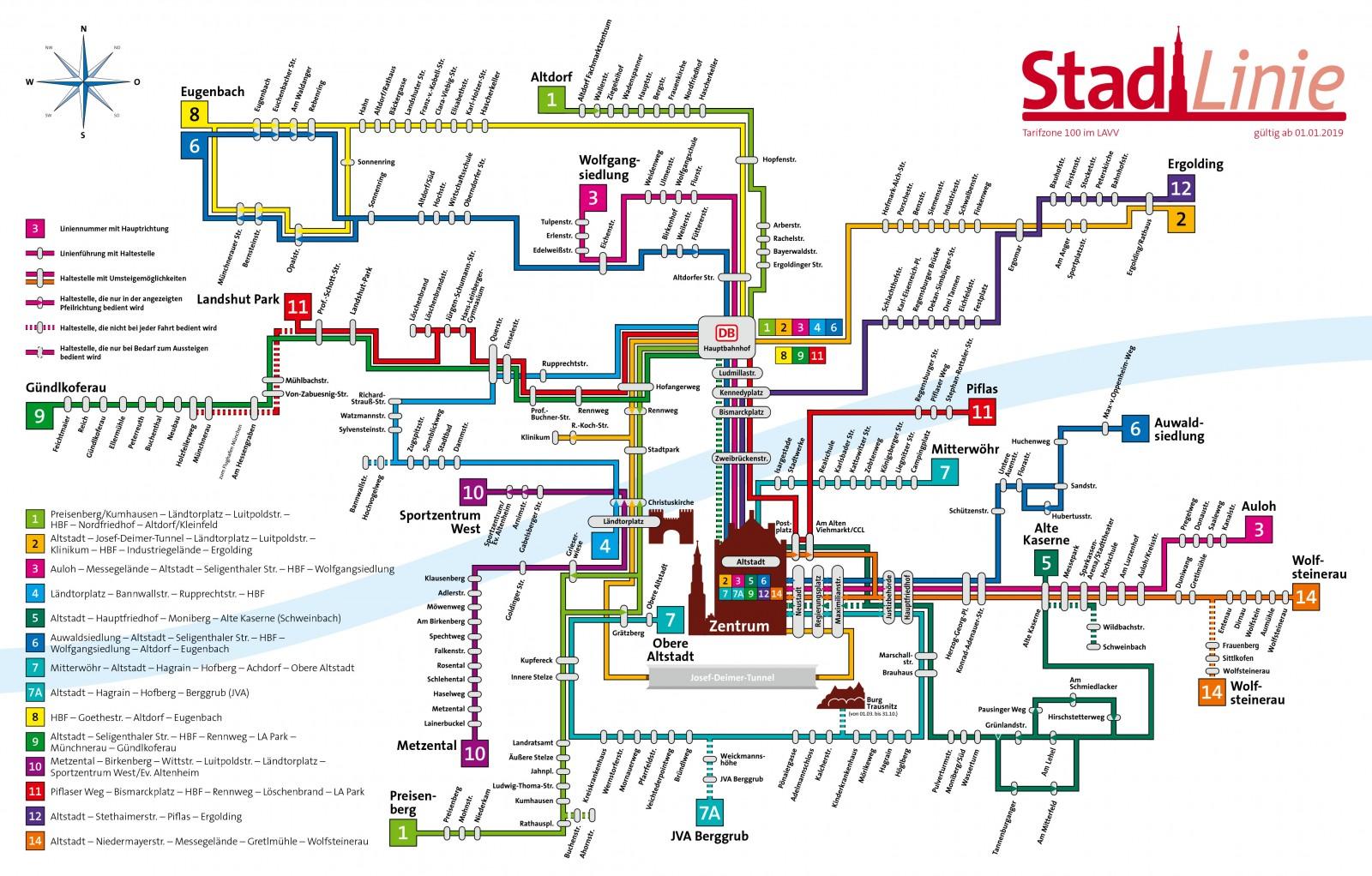 Liniennetzplan der Stadt