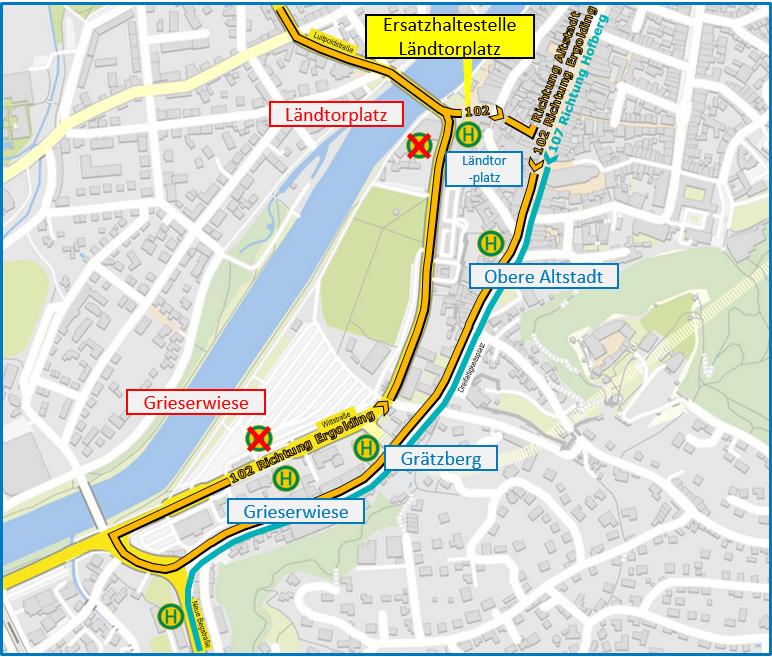 Linienverlauf Tunnelsperrung
