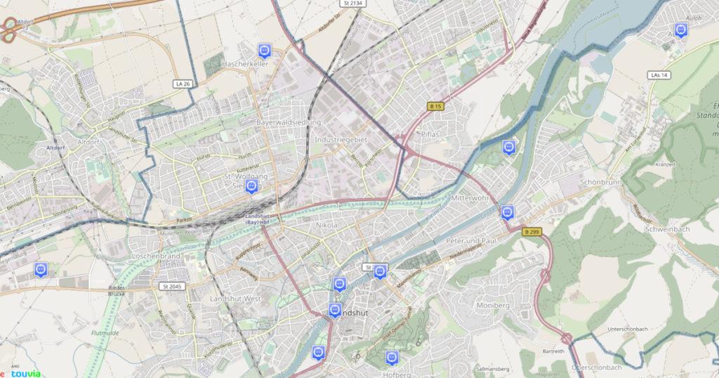 Übersichtskarte der Stromtankstellen in Landshut